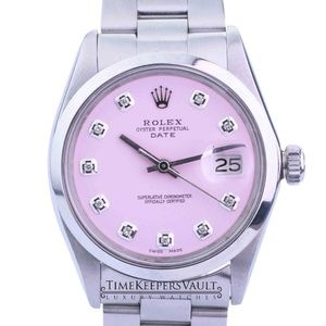 Rolex Oyster Perpetual Date Pink Diamond Dial 34mm